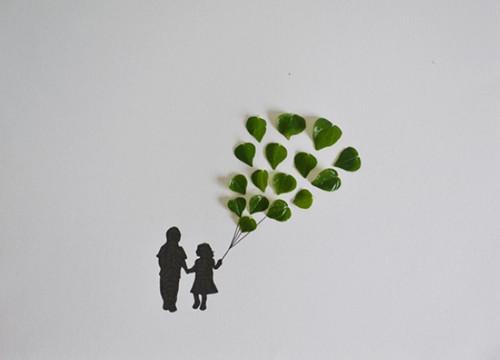 一组清新的树叶创意画