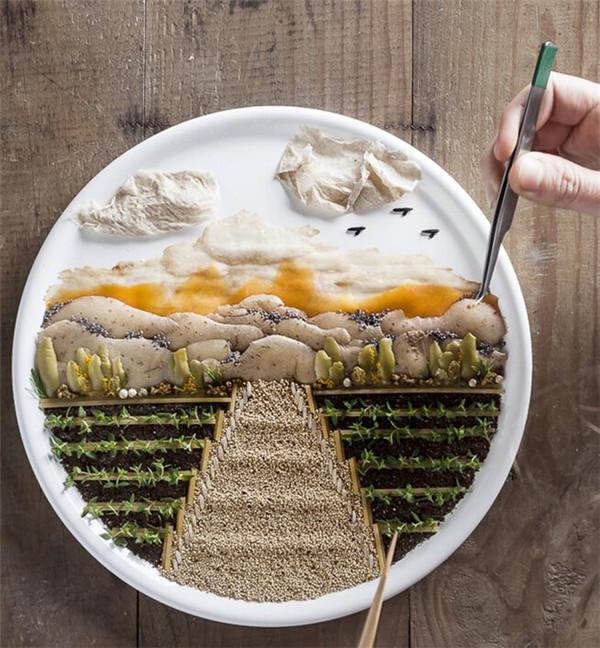 食物通过摆盘创作出了包括城市地标和色彩多样的动物